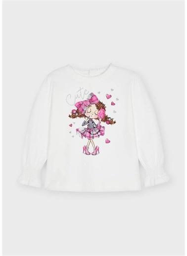 Mayoral Mayoral Kız Çocuk Mansetleri Modelli Sweatshirt Krem